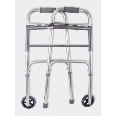 Опоры-ходунки прогулочные, жесткие с двумя замками,  на 2-х опорах и 2-х колесах AMW2B76